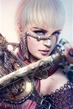 Preview iPhone wallpaper White-haired girl holding a sword
