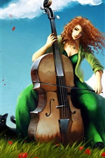Preview iPhone wallpaper Cello girl on the grass