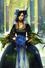 iPhone обои Платье девушка во дворце