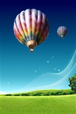 Preview iPhone wallpaper Hot air balloon over the city prairie