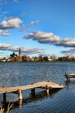Preview iPhone wallpaper Lake bridge sky summer