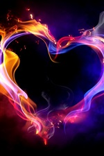 Amor coração fogo fumaça multi colorido