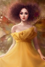 Preview iPhone wallpaper Yellow skirt butterfly wings girl