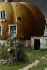Preview iPhone wallpaper 3D abstract pumpkin house