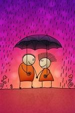 빗속에서 연인 한 쌍의