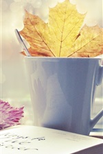 Preview iPhone wallpaper Book leaf cup