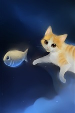 Preview iPhone wallpaper Cat chasing fish in the sky of painting