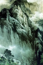 Preview iPhone wallpaper Chinese ink painting mountains and rivers