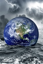 Preview iPhone wallpaper Earth in water at darkness