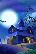 할로윈 밤에 달