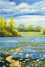 Preview iPhone wallpaper Landscape oil painting