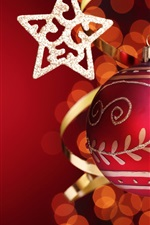 Preview iPhone wallpaper Stars with red Christmas ball