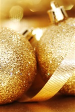 Preview iPhone wallpaper Two gold Christmas balls