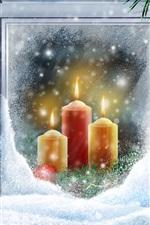 iPhone обои Теплый свечах Рождество снег