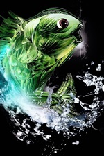 Preview iPhone wallpaper Abstract green fish