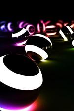 Preview iPhone wallpaper Balls of light in the dark creative design