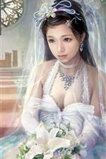 Belo branco casamento vestido de menina fantasia
