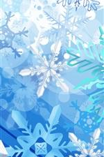 iPhone обои Синяя Снежинка Рождество