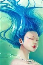 미리보기 iPhone 배경 화면 환상 소녀 나부끼고 파란 머리