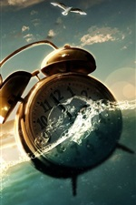 Preview iPhone wallpaper Clock alarm in water