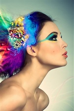 Preview iPhone wallpaper Colorful hair creative design