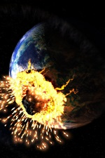 Preview iPhone wallpaper Earth asteroid crashing