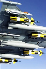 Preview iPhone wallpaper Fighter aircraft armed with missiles bottom view