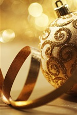 Preview iPhone wallpaper Golden Christmas balls and ribbons