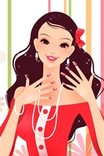 Preview iPhone wallpaper Gorgeous dress fashion girl vector