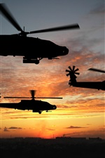 Preview iPhone wallpaper Helicopter flight at sunset