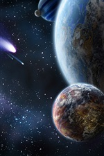 Preview iPhone wallpaper Planet and comet in space