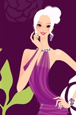 Preview iPhone wallpaper Purple dress fashion girl vector