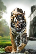 Preview iPhone wallpaper Tiger robot