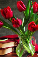 아직 튤립 부케 생활 꽃병 책