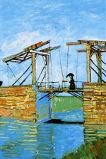 Preview iPhone wallpaper Vincent van Gogh: Langlois Bridge at Arles with Women Washing