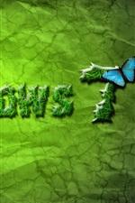 Windows 7 verdes e borboleta