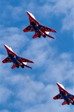 Preview iPhone wallpaper Altitude flight of MiG-29 multirole fighter