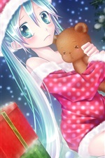 Preview iPhone wallpaper Anime girl on the Christmas eve
