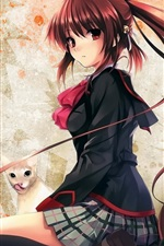 Preview iPhone wallpaper Anime girl with cats
