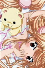 Preview iPhone wallpaper Bed of golden hair anime girl