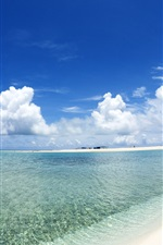Preview iPhone wallpaper Blue sky and white clouds beach