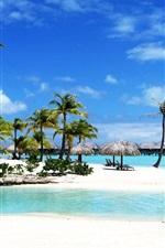 Preview iPhone wallpaper Bora Bora Beach Resort Palm Sea