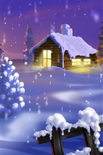 Preview iPhone wallpaper Christmas house and snow