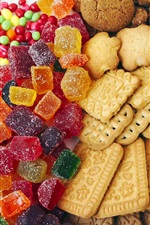 Preview iPhone wallpaper Colored candy and cookies