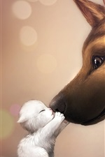 Preview iPhone wallpaper Dog and kitten friendship kiss