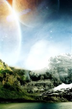 Preview iPhone wallpaper Dream world of mountains and water