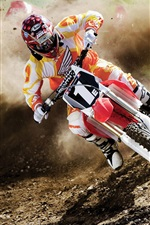 Preview iPhone wallpaper Dusty motorcycle race