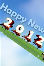 Preview iPhone wallpaper Happy New Year 2012 leaf and ladybugs