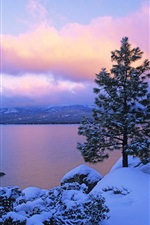 Preview iPhone wallpaper Lake at dusk in winter