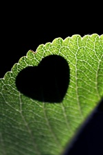 Preview iPhone wallpaper Love heart-shaped on the leaves